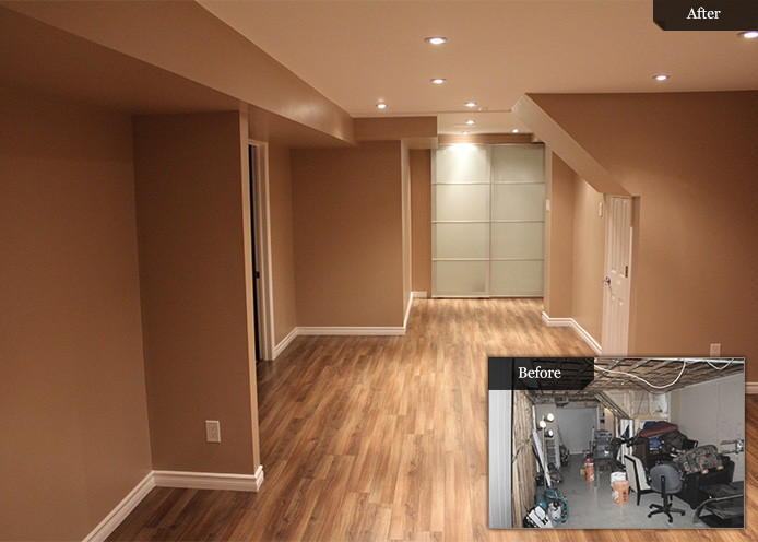 Before And After Pictures Of A Finished Basement By Bowerbird Renovations  In Toronto
