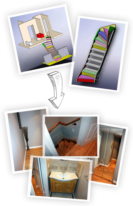 Home renovation Design prototype: staircase, hallway, and bathroom design