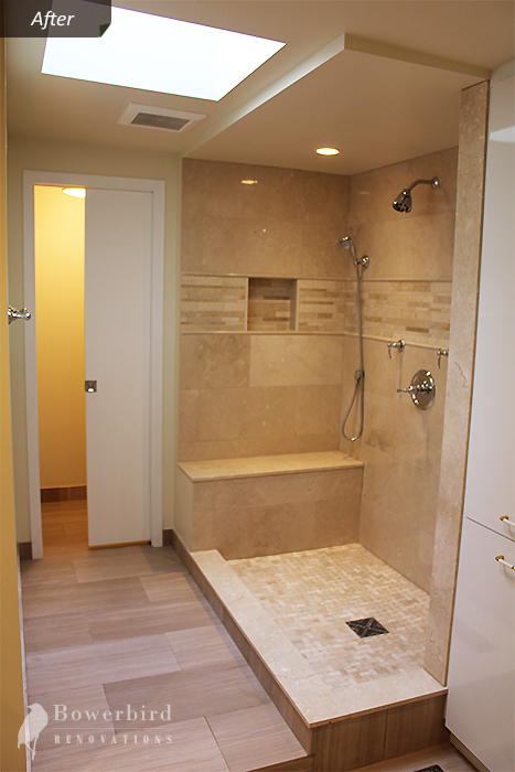 Recent Bathroom Renovation Project: Marble shower, gorgeous, big, and functional.