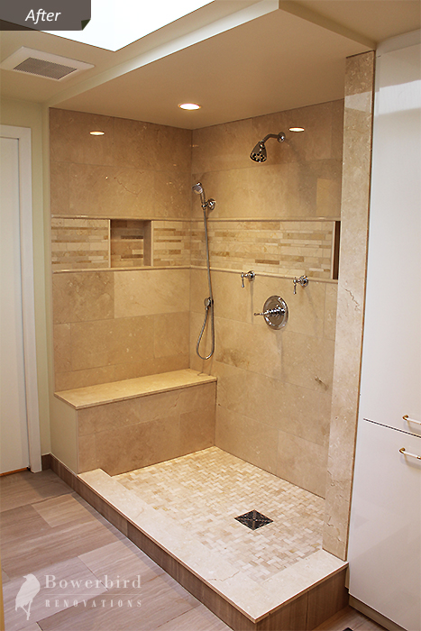 Gorgeous shower created in a Toronto home by remodeling the existing bathroom space. All Marble, spacious, and beautiful.